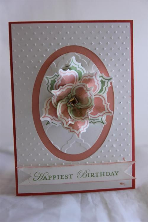 stampin up - mosaic punch,mosaic madness stamp set, framelits ovals, modern mosaics embossing folder.saw this and had to case!