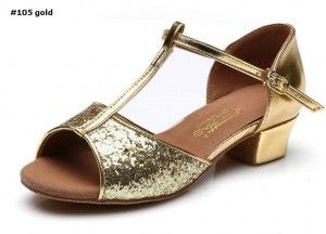 latin dance shoes #105 sequin gold