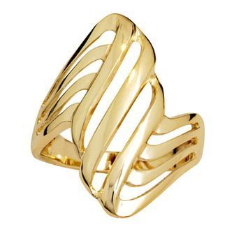 Gold Ring - Wide Band - Folded Ribbon - BEE-44756