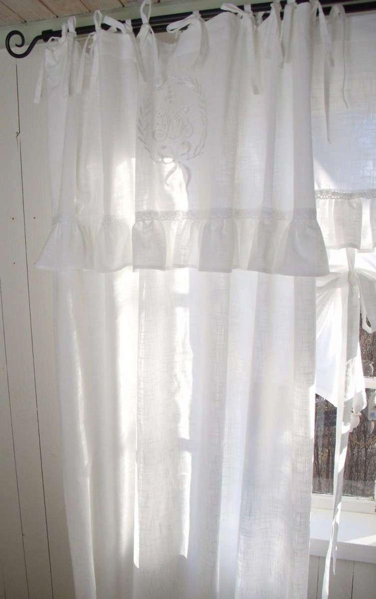 LARA Weiß Vorhang Gardine 140x250 cm 2 Stück Volant bestickt | Gardinen | Zauberhafter Landhausstil
