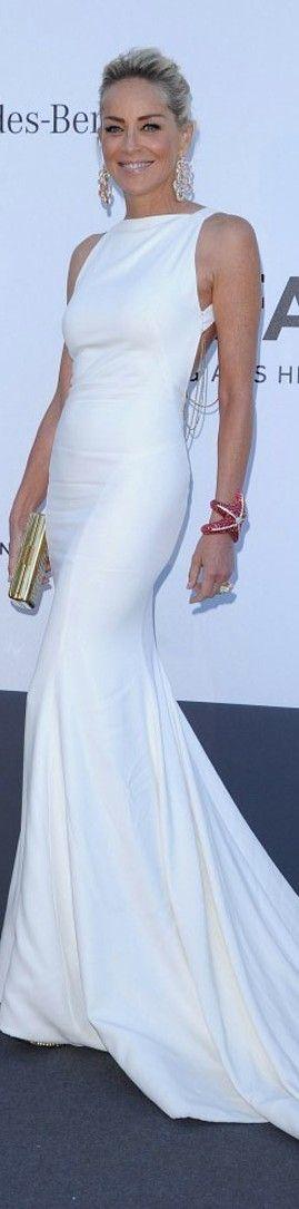 Sharon Stone, very stylish... at the AMFAR Gala, 2013 Cannes Film Festival