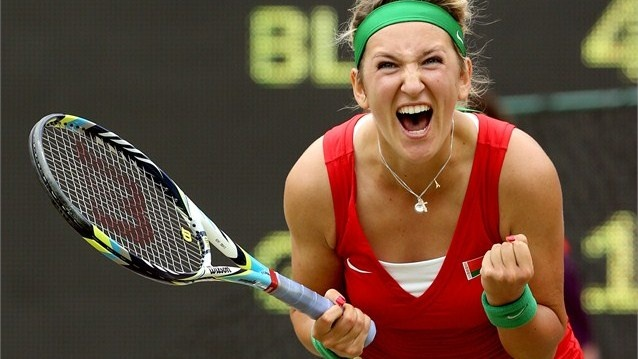 Victoria Azarenka celebrates after defeating Angelique Kerber    Strength!  Garra!  Power!  Style!    Love my tennis!
