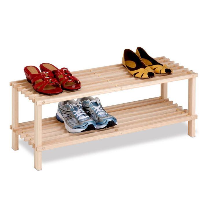 2-tier unfinished natural wood shoe rack - Shoe Racks - Closet  - Storage & Organization