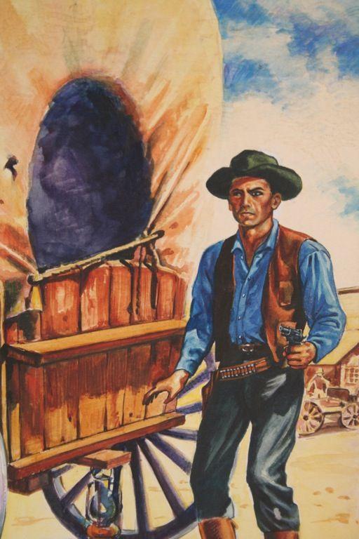 Western Book Cover Art : Orig pulp western book cover illustration art cuschie