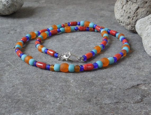 Colorful Ethnic Strand Necklace, Glass Beaded Necklace, Native American Southwestern Colors, Bohemian Boho Gypsy Surfer Eco-Friendly Jewelry