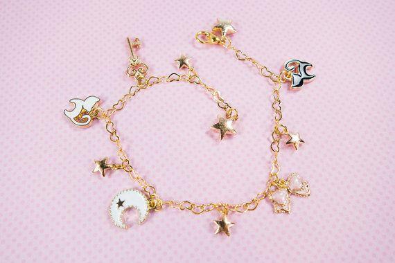 Sailor Moon inspiré Charm Bracelet Luna Artemis étoiles doré réglable