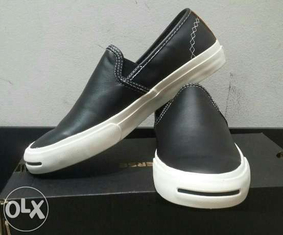 Converse Jack Purcell® Slip-On Leather Black/Auburn