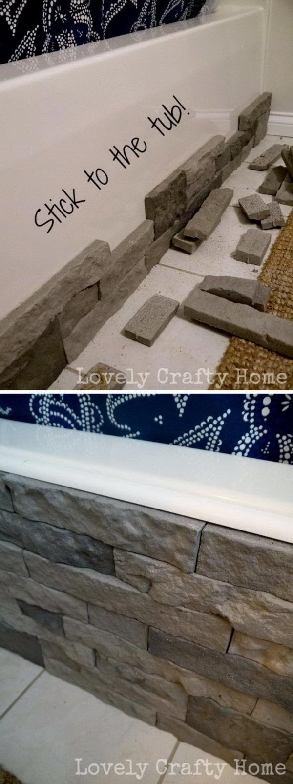 Cover an Ugly Bathtub With Faux Stone.