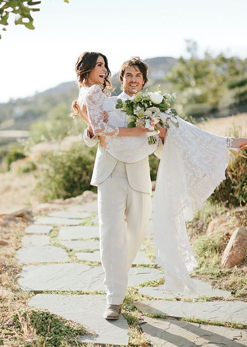Ian Somerhalder and Nikki Reed secretly wed at a bohemian chic wedding in Topanga Canyon. Nikki in Claire Pettibone gown and Ian in white bespoke suit by Nedo Bellucci // Hollywood Wedding