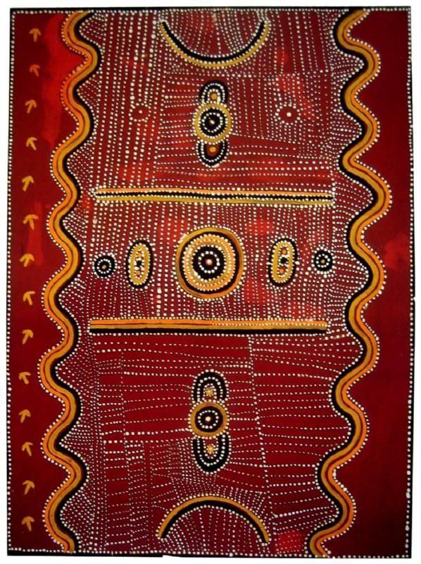 Kaapa Tjampitjinpa, Emu Story, 1971, Synthetic polymer paint on composition board, 122 x 91.5 cm.