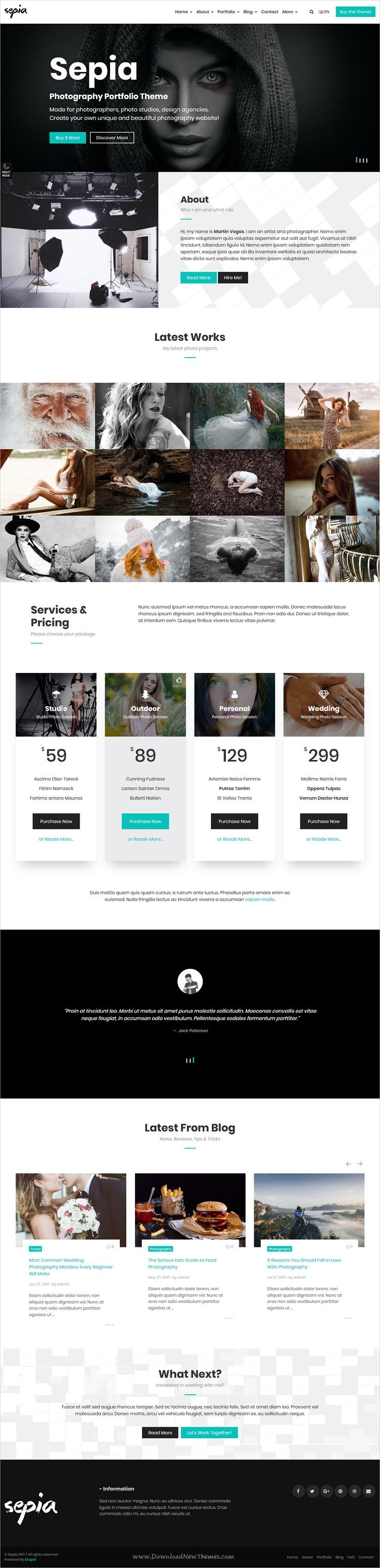 Sepia is clean and modern design responsive #Drupal theme for stunning #photography and #portfolio showcase website download now..