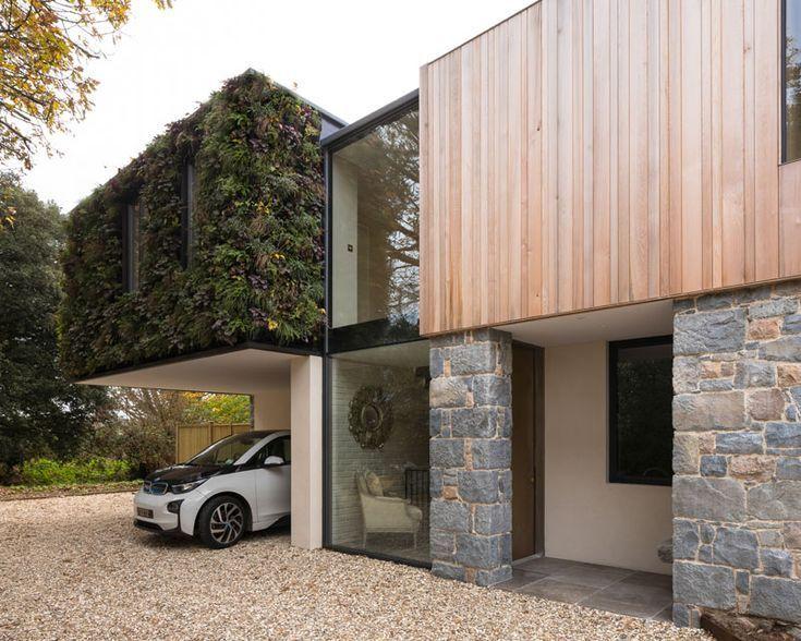 Architecture Residential Exterior Guernsey Arrives Granite Modern Island Stone Cedar Green Wood Wall Modern House Design Facade House House Design