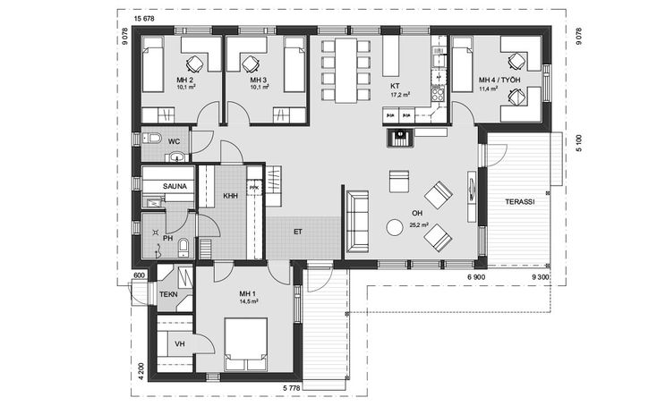 Kodikas yksikerroksinen koti, jossa neljä makuuhuonetta. Suurimman makuuhuoneen yhteydessä on käytännöllinen vaatehuone. Huoneesta on kulku suoraan kodinhoitohuoneeseen ja pesutiloihin. Kaksi pienempää makuuhuonetta on sijoitettu talon toiselle reunalle ja työhuoneenakin toimiva makuuhuone omaan rauhaansa. Tulisija tuo tunnelmaa olohuoneeseen, josta pääsee suoraan ulos terassille. Erillisessä keittiössä on saareke, joka toimii lisälaskutilana ja erottaa ruokailutilan muusta keittiöstä.