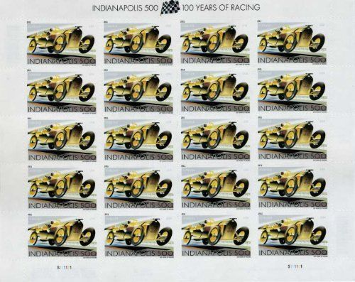 "Indianapolis 500 Sheet of 20 x Forever us Postage Stamps . $8.59. Issue City: Indianapolis, IN 46206  Issue Date: May 20, 2011  Issue Series: N/A           On May 30, 1911, Ray Harroun blazed across the finish line at the Indianapolis Motor Speedway, winning the first Indianapolis 500 Mile Race in #32, the black-and-yellow Marmon ""Wasp"" he designed himself. This Indianapolis 500 (Forever®) stamp celebrates the centennial of that race, an American tradition now billed as ""The Gre..."