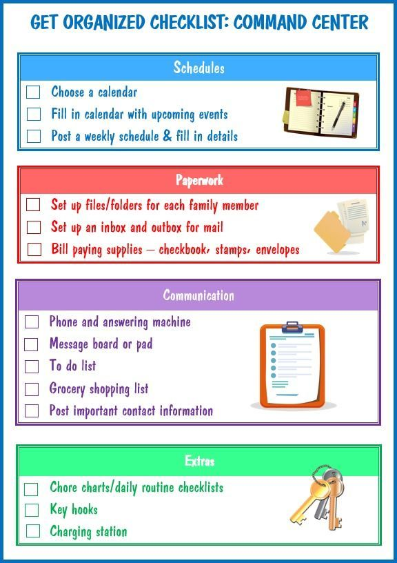 This get organized checklist for your command center is the first in a series of printable lists to help you organize your entire home.