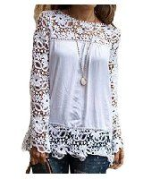 Lovaru Women's Casual Perspective Elegant Lace Blouse at Amazon Women's Clothing store: