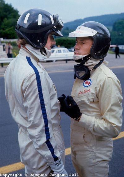 G. Hill & J. Clark, both using Buco Helmets. Spa-Franchochamps, 1967.