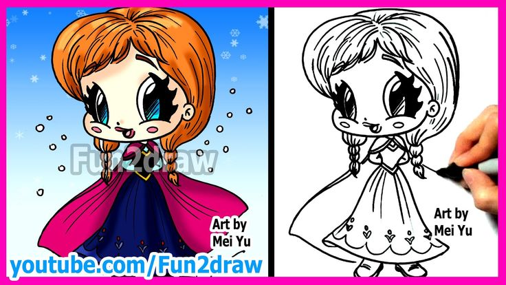 How to Draw Disney Princesses & Characters - Inspired by Frozen Anna - Fun2draw cartoon