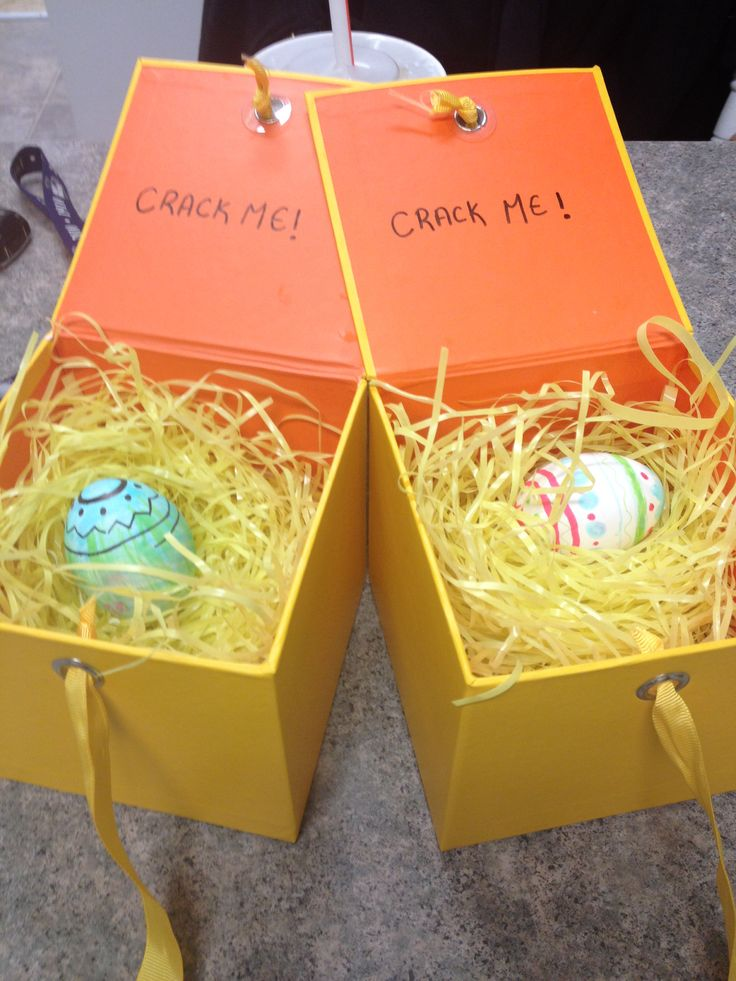 My Easter themed pregnancy announcement to my parents for my first pregnancy. Hollowed them out and stuck a note inside telling them they are grandparents.