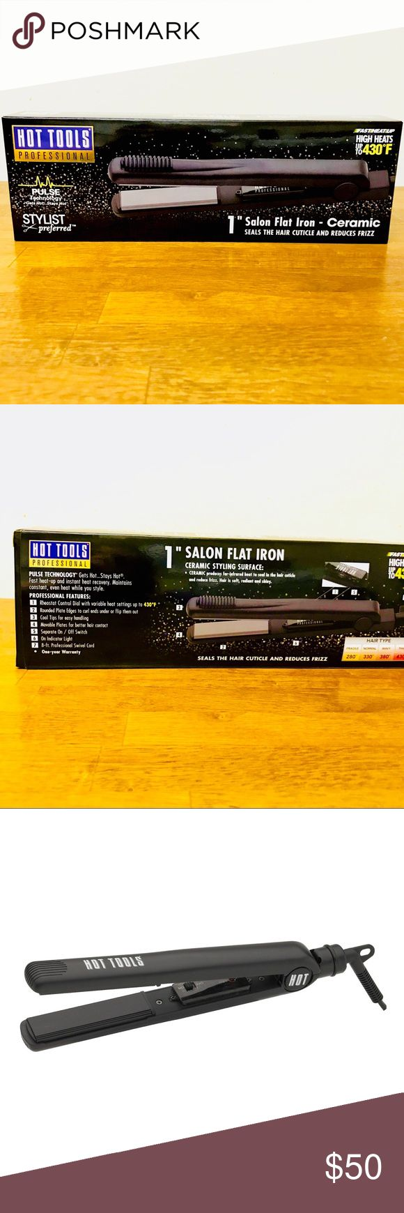 """🔥NEW! Hot Tools Ceramic 1"""" Flatiron!🔥 Brand new hair straightener from Hot Tools! Features nanoceramic technology for heat that is more gentle on hair and eliminates frizz for a shiny, healthy finish! Pulse technology makes it get hot & sense when heat is lost and immediately restores it so it stays hot! 1"""" plates. Retail price: 69.99! All reasonable offers considered when made using the offer button and closet discount applied to bundles! Hot Tools Accessories Hair Accessories"""