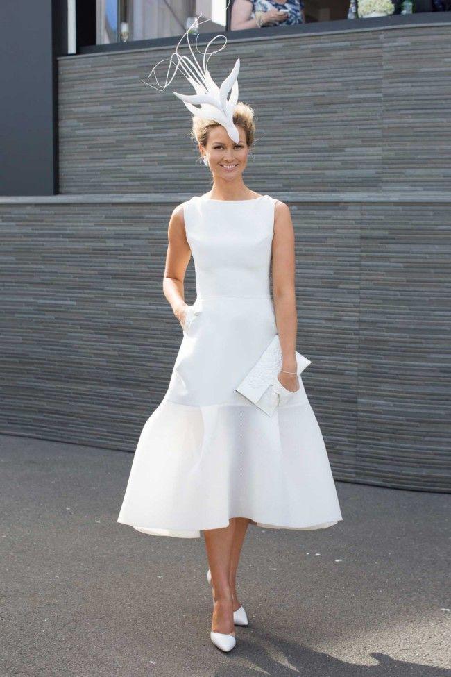 Contemporary wedding dress / fabulous hat / tea length wedding dress #cityhallweddings