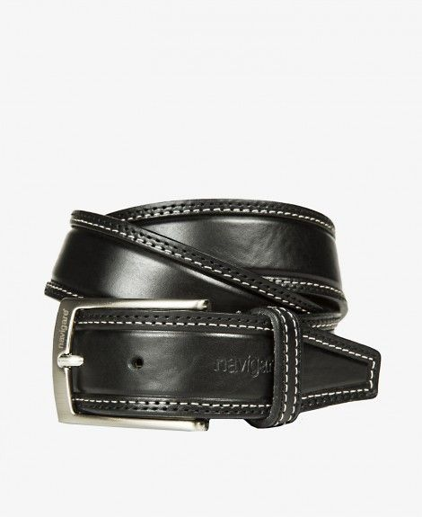 Double-stitched leather belt, Made in Italy, with square metal buckle and Navigare logo | Navigare