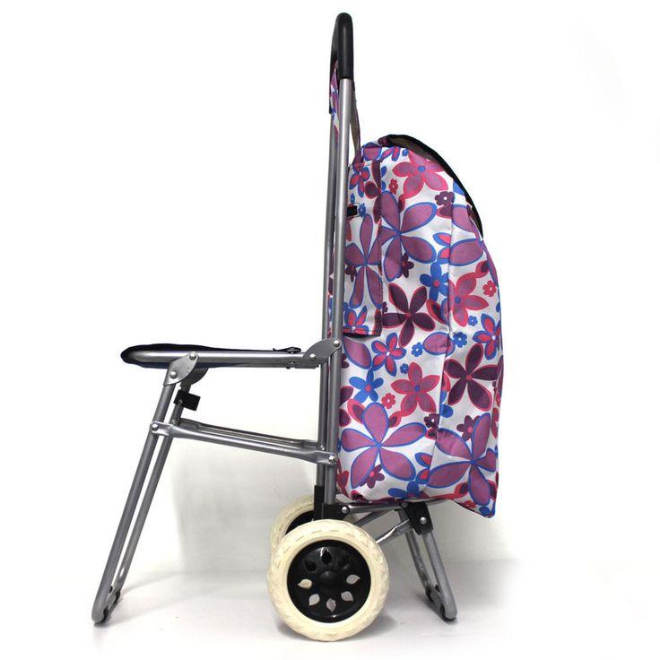 NEW MULTI FLOWER Folding Cart/Wheels Bag Laundry Grocery ...