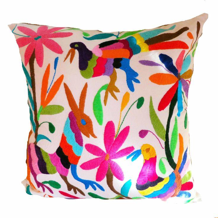 Otomi Folk Art cushion multicolour and white - Large size
