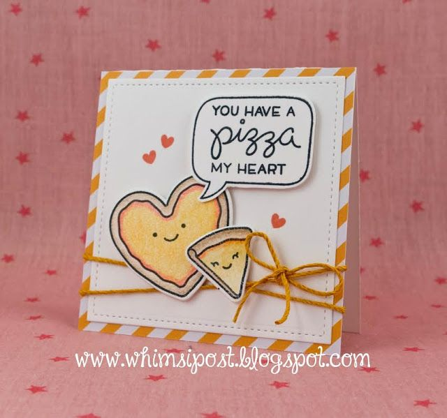 Lawn Fawn   Pizza My Heart, A Birdie Told Me, Stitched Square Stackables,.  Cheesy Valentines Day CardsFood ...