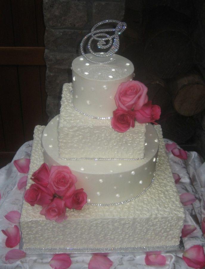wedding cakes with rhinestone banding | Diamond Wedding Cake — Other / Mixed Shaped Wedding Cakes