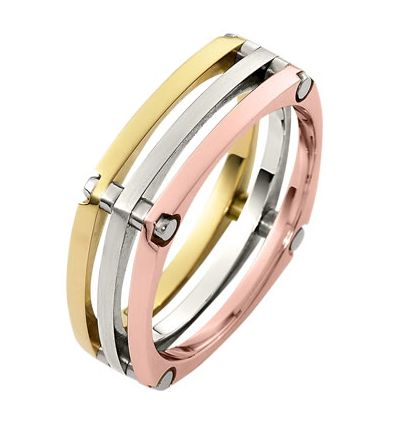 A beautiful combination between rose, white and yellow colors. You can choose between 10k, 14k, 18k gold, silver & titanium, and gold combined with titanium. Choose your favorite metal!