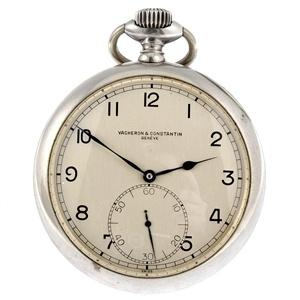 A continental white metal keyless wind open face deck watch signed Vacheron & Constantin