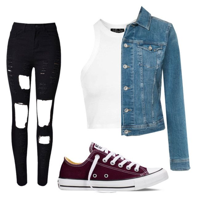 """""""Bowling outfit"""" by beautifulcooper on Polyvore featuring Converse, Topshop and Tommy Hilfiger"""
