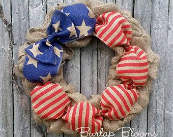 Patriotic Wreath Summer Cottage Wreath 4th of July Wreath