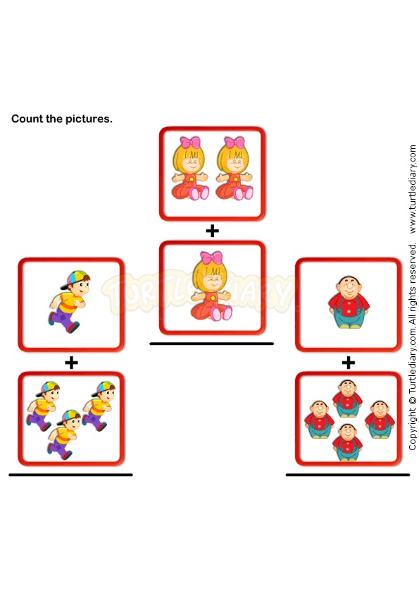 Picture Addition 2 - math Worksheets - preschool Worksheets