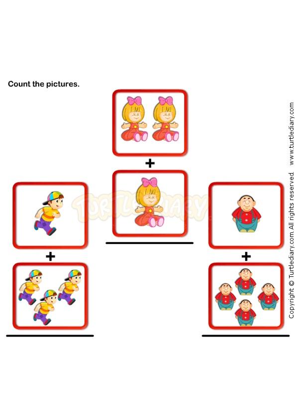 Picture Addition 2 - math Worksheets - preschool Worksheets