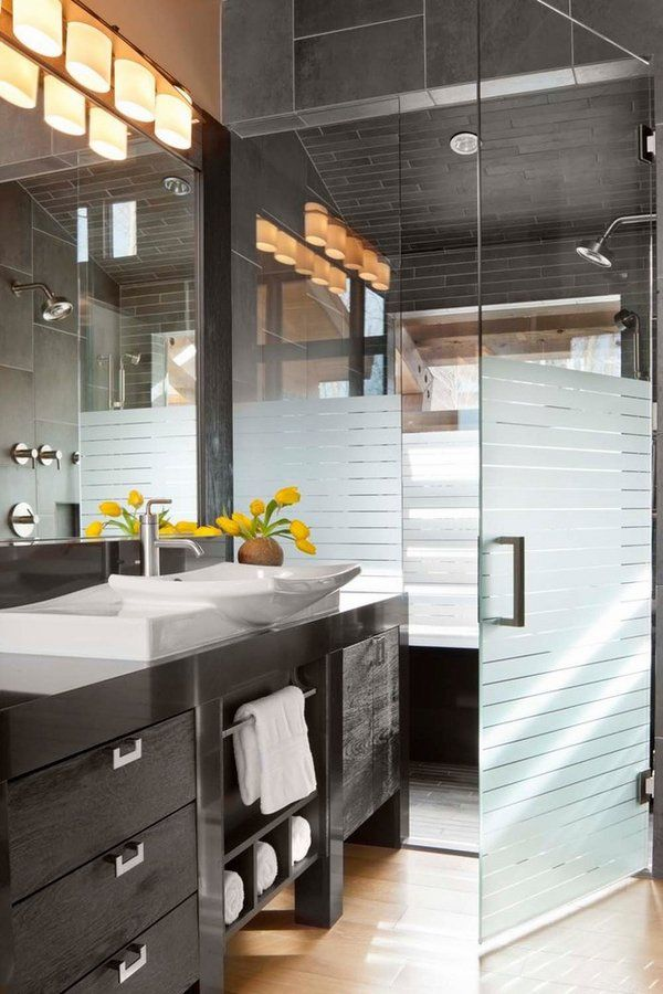 11 best frosted shower glass images on pinterest bath - Bathroom vanity with frosted glass doors ...