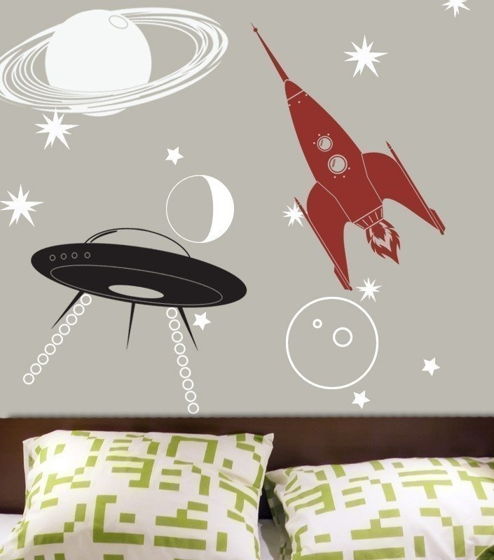 UFO, Rocket, and Saturn Decal Kit ($60): This custom-made space decal kit comes with a rocket, space ship, and a large Saturn, along with an assortment of stars and smaller planets, ready to decorate your lil one's room. And you can pick up to three colors that match your child's decor for creating the wall decals.