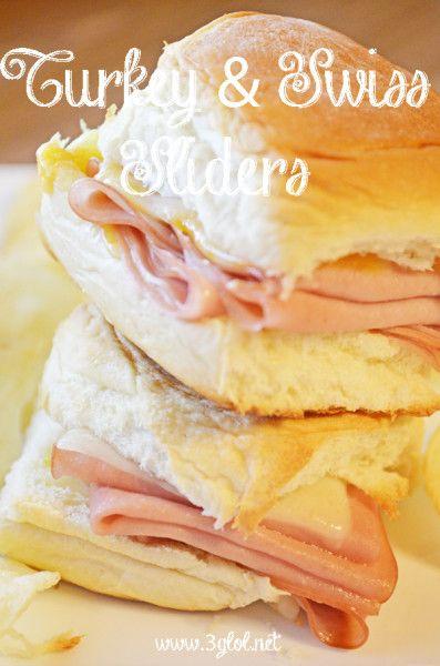 """Turkey and Swiss Sliders. """"Mini"""" sandwich great for lunch, dinner or even as an appetizer. #sliders #sandwich #turkey http://www.3glol.net"""