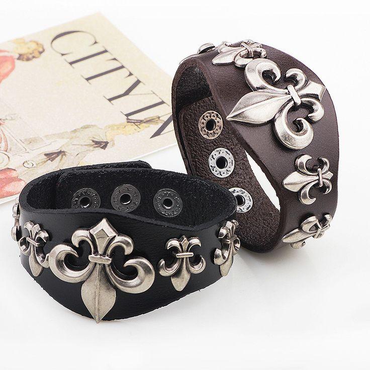 QN Paris Romantic Of All Rivet Genuine Leather Alloy Accessories PUNK Man Bracelet Ornaments