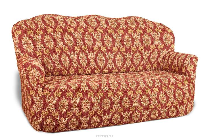 Чехол на 3-х местный диван Еврочехол Виста, цвет: бордовый, бежевый, 160-240 см