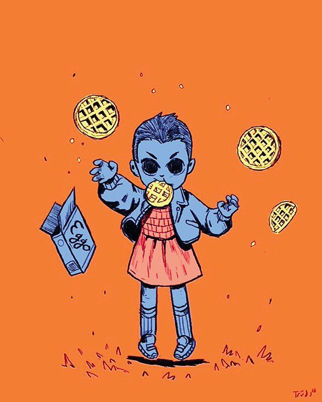 Trudi Castle ‏@trudicastle    Stranger Things; love Eleven's obsession with Eggo @Sketch_Dailies #StrangerThings