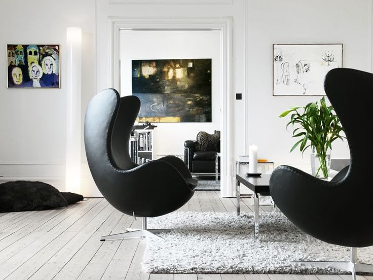 Black Leather Egg Chairs In This Monochrome Inspired Living Space