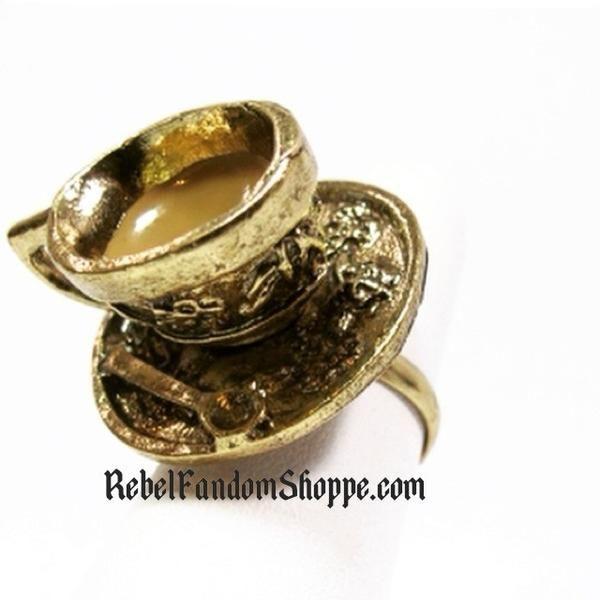 Tea Cup Ring, alice in wonderland tea cup ring, teacupring, fandom jewelry, fandom ring, alice ring, wonderland ring, tea ring, tea party ring, mad hatter ring, mad tea party ring, geeky jewelry, geeky ring, book ring, tea ring, gold teacup ring, gold tea ring, gold tea cup ring