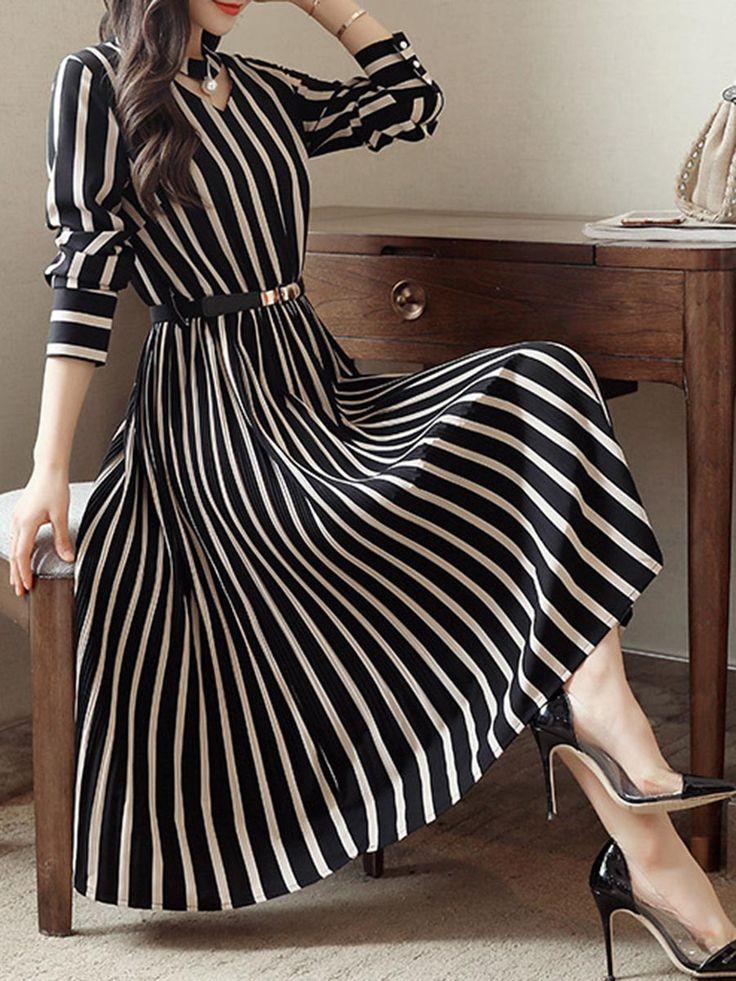Round Neck Cutout Vertical Striped Belt Midi Skater Dress –  #
