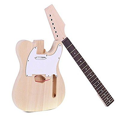 ammoon Tele Style Unfinished DIY Electric Guitar Kit Basswood Body Maple Neck Rosewood Fingerboard