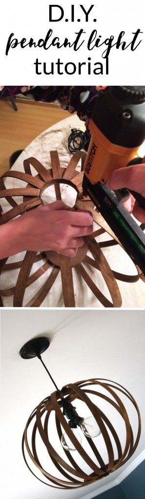 tutorial for making a West Elm Bentwood Pendant light Knock Off. Full tutorial by Designer Trapped in a Lawyer's Body.