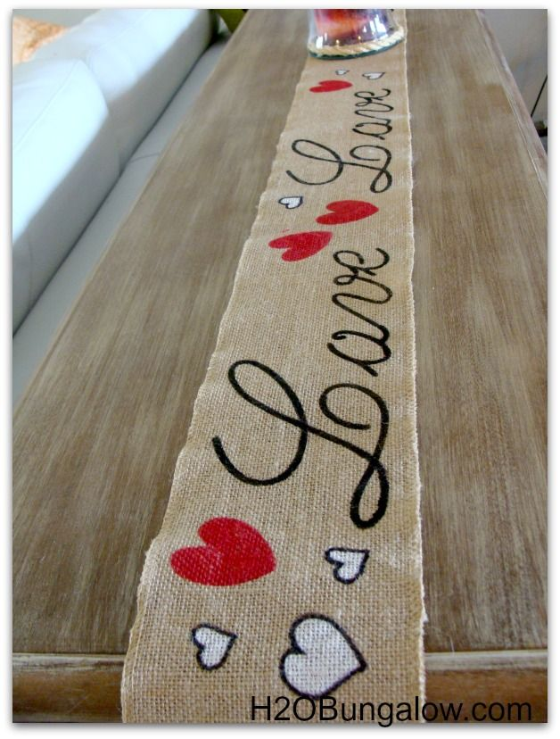 Valentines Day table runner on sofa table