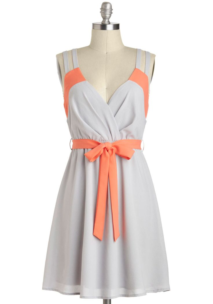 Pop of Coral Dress - Grey, Orange, Belted, Chiffon, Mid-length, Solid, Casual, A-line, Sleeveless, V Neck, Cutout, Daytime Party, Beach/Resort, Pastel, Colorblocking