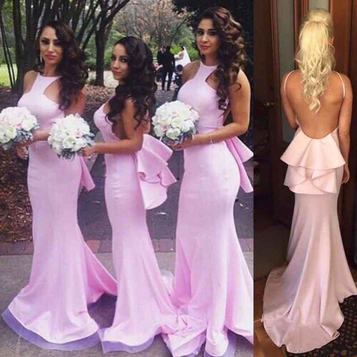 Pink Backless Bridesmaid Dresses Mermaid Halter Peplum Sweep Train Long Maid Of Honor Gowns Cheap Online Under $90 Childrens Bridesmaid Dresses Country Bridesmaid Dresses From Lily_weddingonline, $188.49| Dhgate.Com